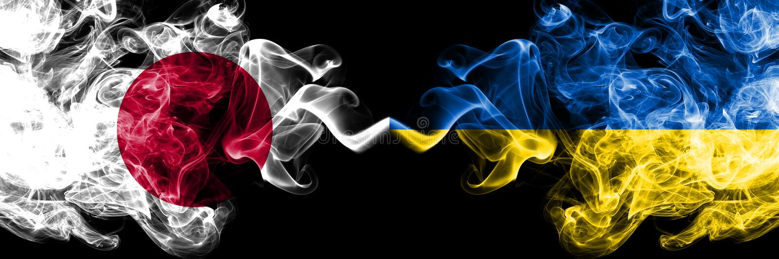 Japan vs Ukraine, Ukrainian smoky mystic flags placed side by side. Thick colored silky smokes combination of Ukraine, Ukrainian. And Japanese flag stock illustration