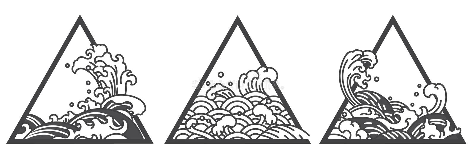 Japan water wave triangle tattoo vector illustration