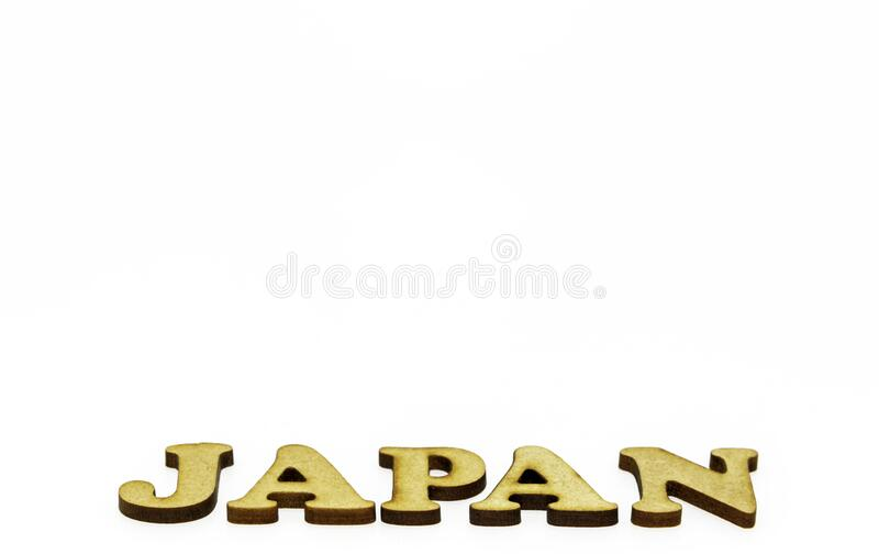 Japan written at an abstract angle. stock photography