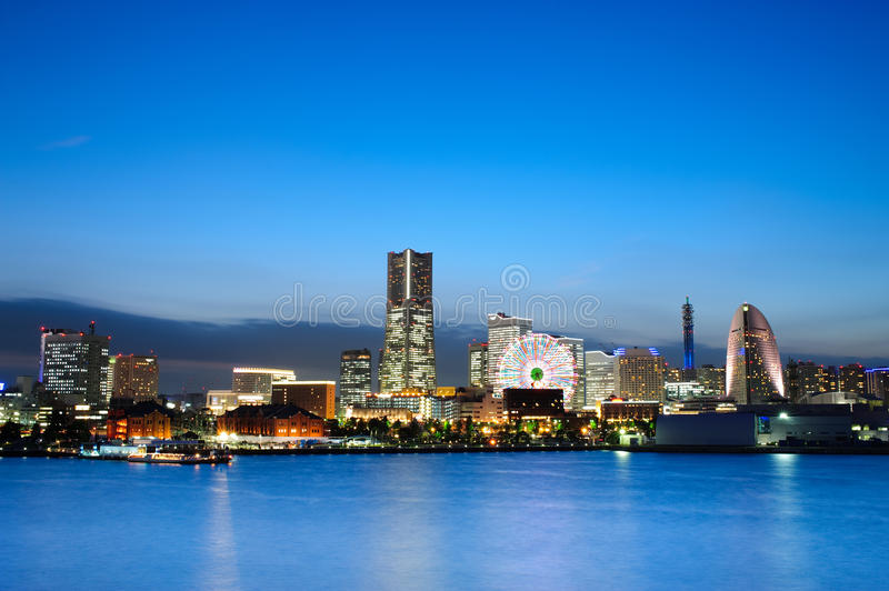 Japan Yokohama 01. Blue hour at Yokohama Bay. Yokohama is capital of Kanagawa prefecture Japan. Seen in photo are Yokohama Landmark Tower, Minatou-Mirai Giant royalty free stock photography