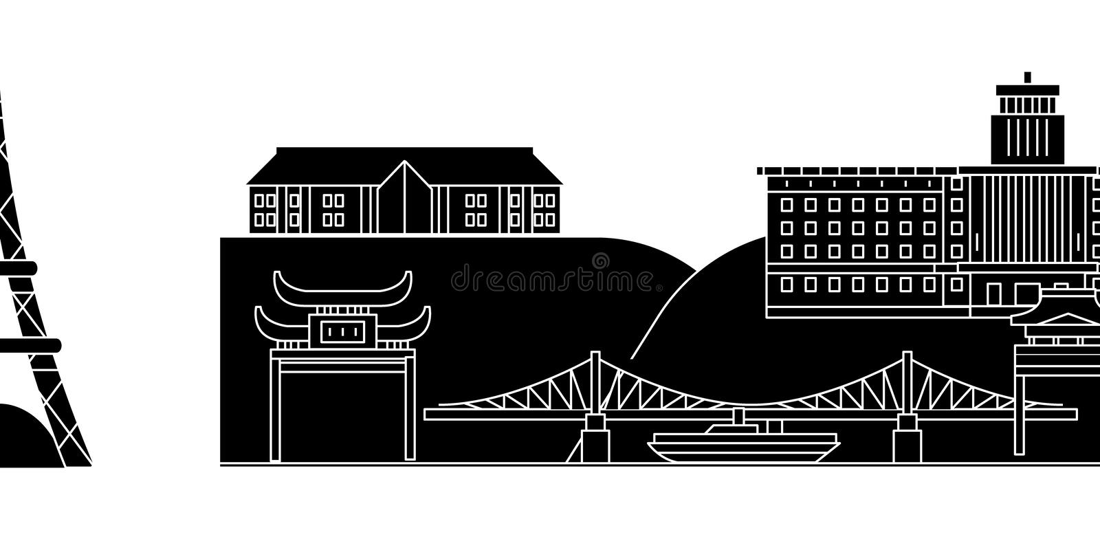 Japan, Yokohama architecture vector city skyline. Black cityscape with landmarks, isolated sights on background stock illustration