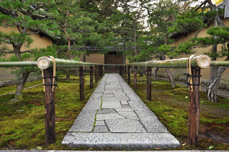 Buddhist Ceremony Traditional Japanese Garden: Japan Zen Temple Garden Entrance Stone Path Stock Photo