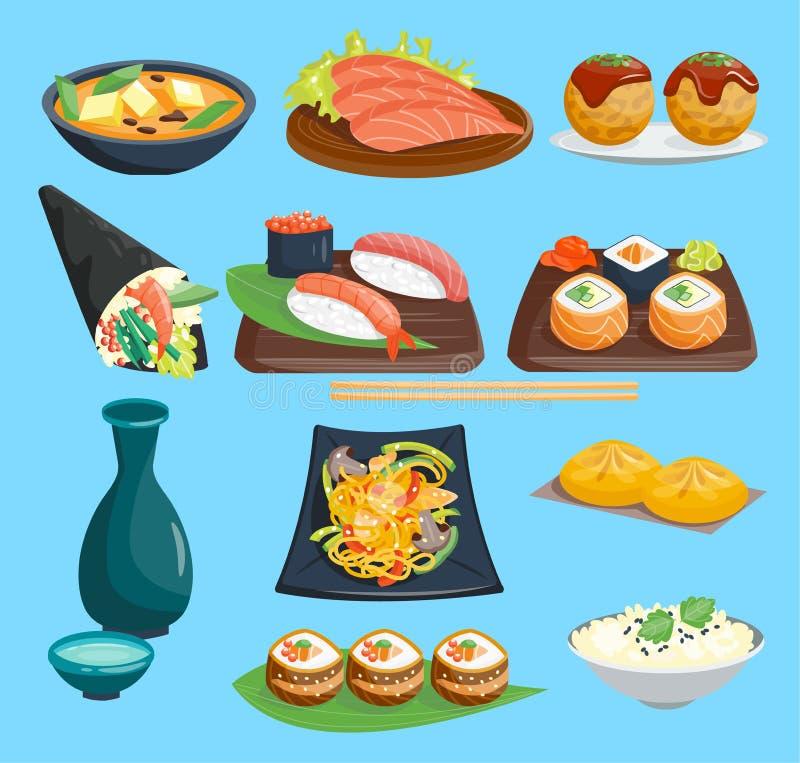 Japane食物在板材生鱼片卷或nigiri的传染媒介寿司和海鲜用在日本餐馆例证的米 库存例证