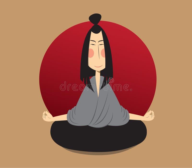 Japaneese meditiert in Lotussitz stockbild