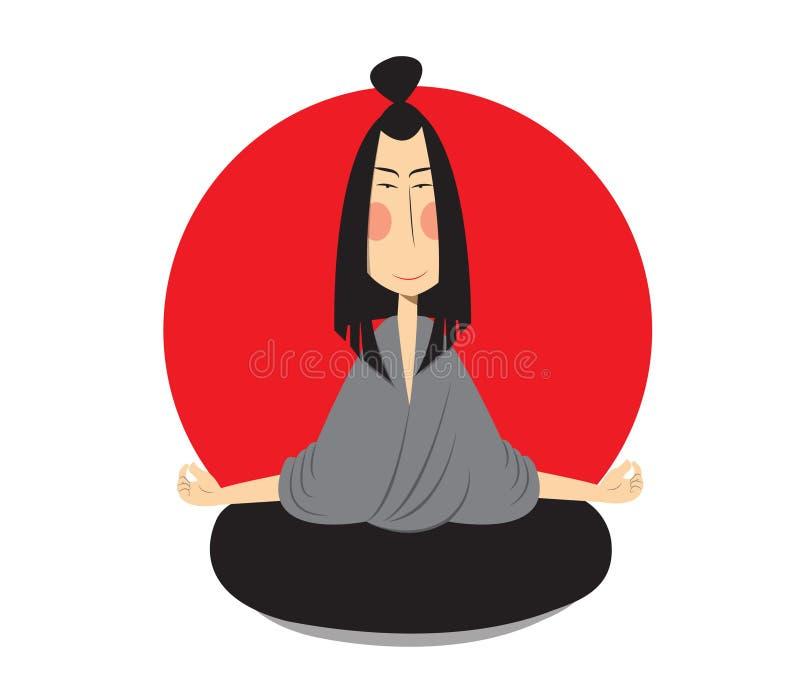 Japaneese na posição de lótus ilustração stock