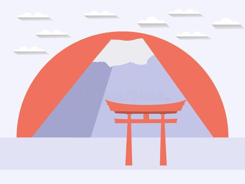 Japanen utfärda utegångsförbud för japanskt berg Symbol av Japan i en plan styl stock illustrationer
