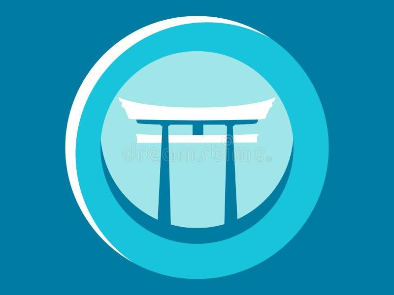 Japanen utfärda utegångsförbud för Torii lägenhetsymbol logo Rund pictogram vektor royaltyfri illustrationer