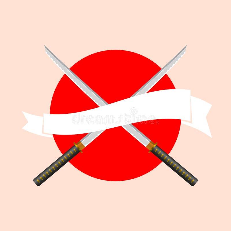 Japaner Katana Swords mit weißem Band auf dem japanischen Flaggen-Hintergrund lizenzfreie abbildung