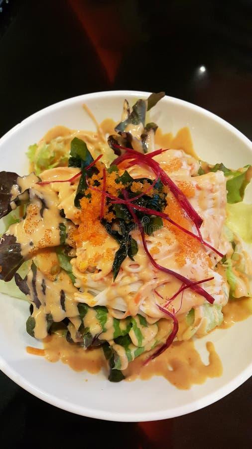 Japaner-Krabbe-Stock-würziger Salat lizenzfreie stockbilder