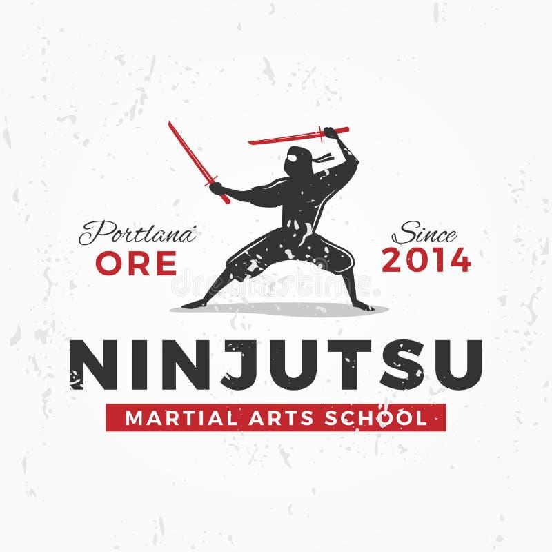Japaner Ninja Logo ninjutsu Insigniendesign Weinlese ninja Maskottchenausweis Kampfkunst-Teamt-shirt Illustrationskonzept lizenzfreie abbildung