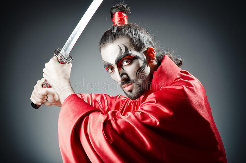 Japanese actor with sword royalty free stock photos