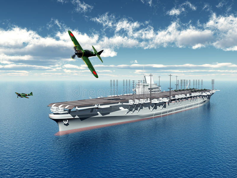 Japanese Aircraft Carrier. Computer generated 3D illustration with a Japanese Aircraft Carrier and two Japanese Fighter Bombers from the second world war royalty free illustration