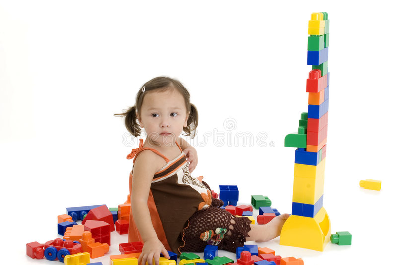 Japanese American Girl Playing With Blocks royalty free stock image