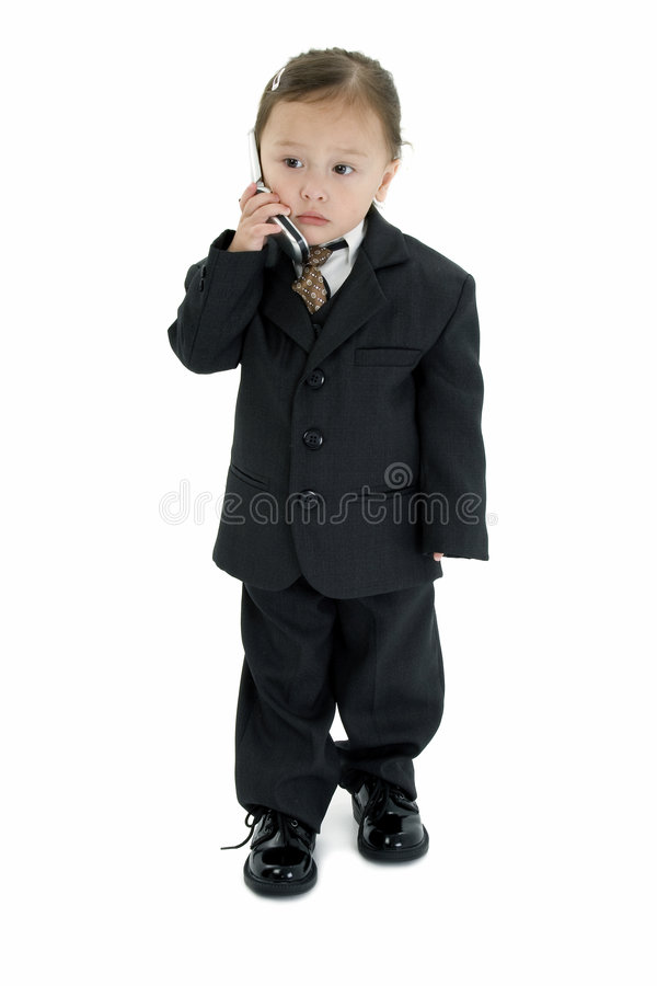 Japanese American Girl in Suit with Cellphone royalty free stock photography