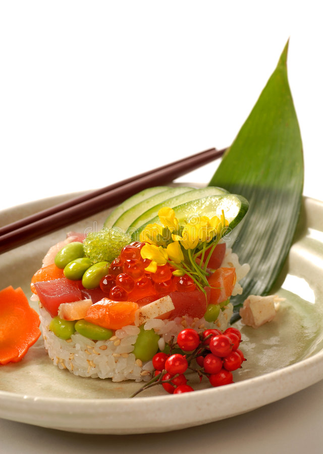 Japanese appetizer with tuna, rice and vegetables stock photo