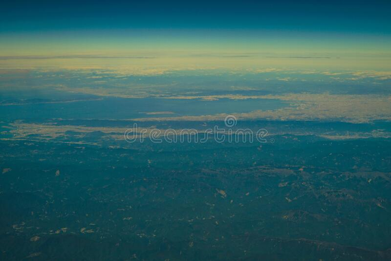 Japanese archipelago Aerial view of Kansai and Shikoku. Shooting location :  Osaka prefecture royalty free stock image