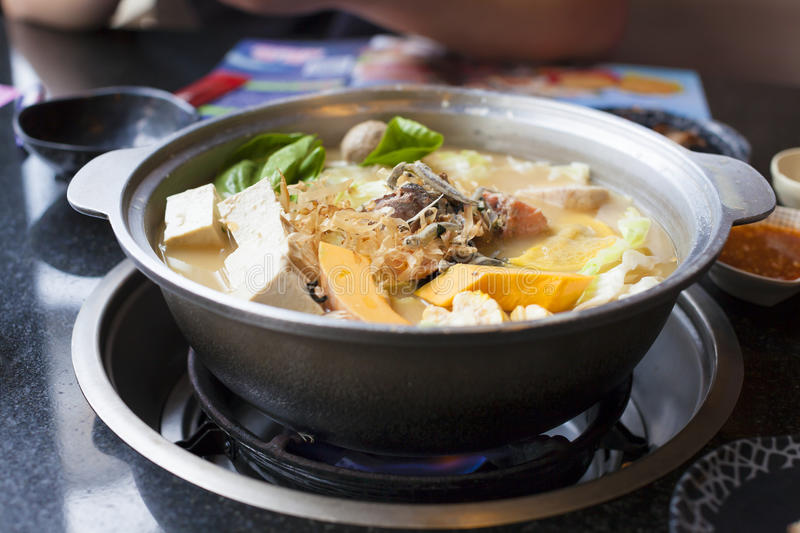 Japanese and asian cuisine. hot pot on background stock images