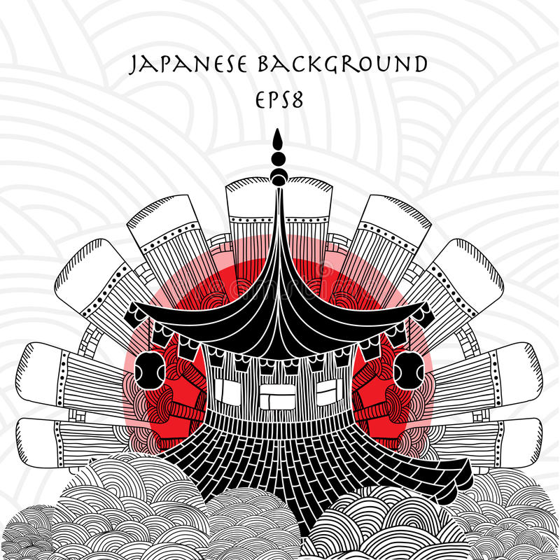 Japanese background with japanese house stock photography