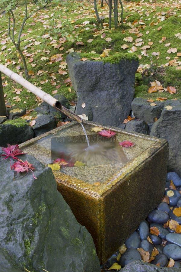 Japanese Bamboo Fountain with Stone Basin stock image