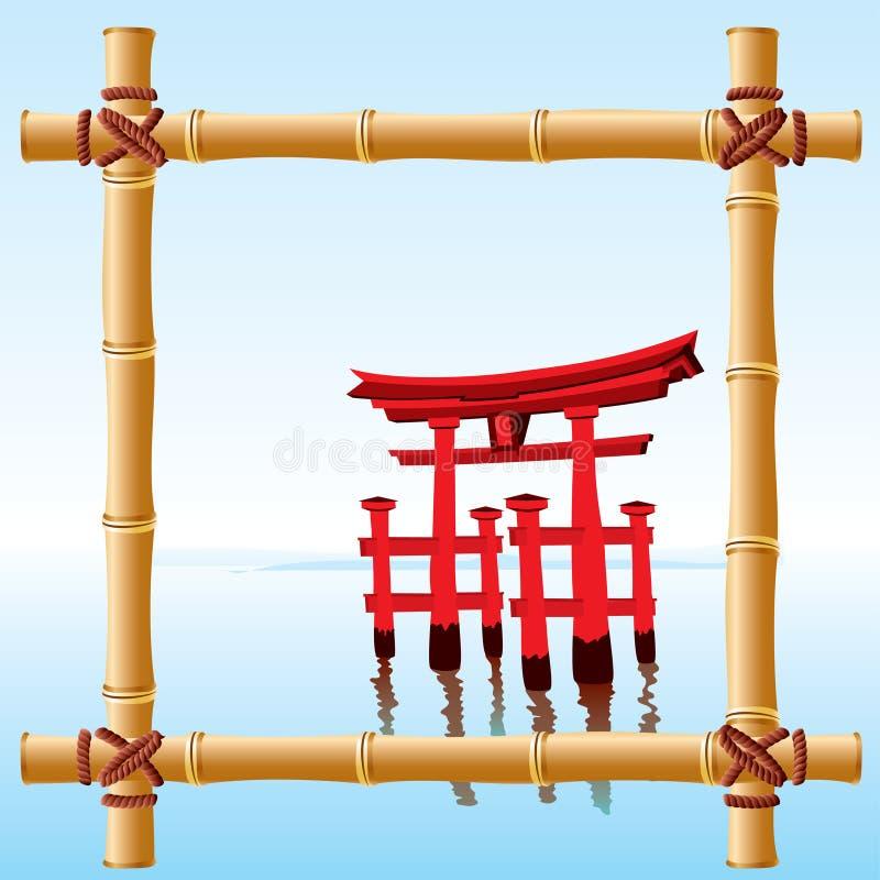 Japanese bamboo frame vector illustration