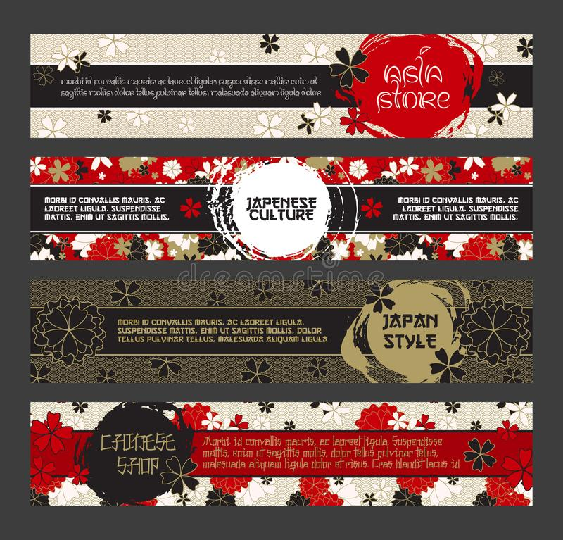 Japanese Banner Templates Set. Asian Culture Squama and Sakura Blossom Patterns. Vector Horizontal Banners, With Inked royalty free illustration