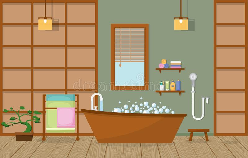 Japanese Bathroom Residential Traditional Style Wood Accent Interior Illustration.  vector illustration