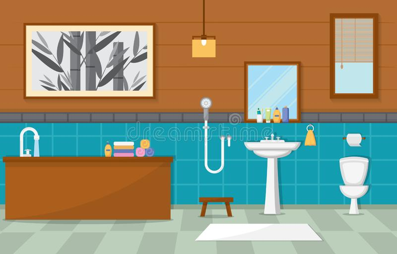 Japanese Bathroom Residential Traditional Style Wood Accent Interior Illustration.  royalty free illustration