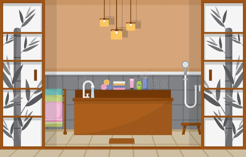 Japanese Bathroom Residential Traditional Style Wood Accent Interior Illustration.  stock illustration