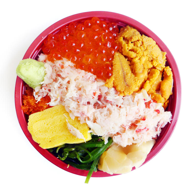 Japanese Bento box, gourmet seafood stock photo