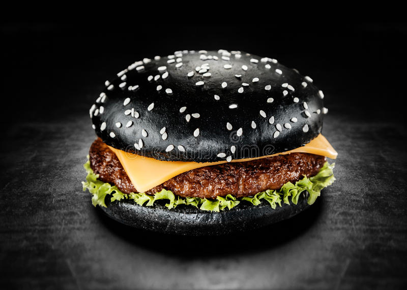 Japanese Black Burger with Cheese stock images