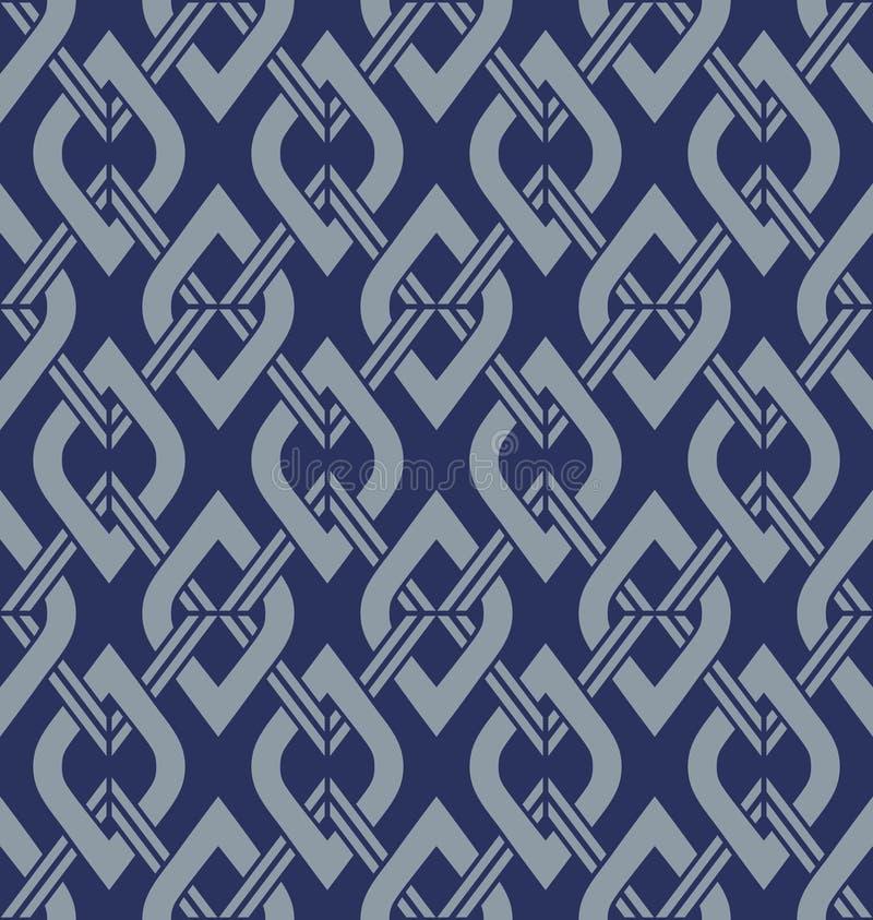 Japanese Blue Diamond Square Seamless Pattern. Japanese Diamond Square Seamless Pattern on blue background stock illustration