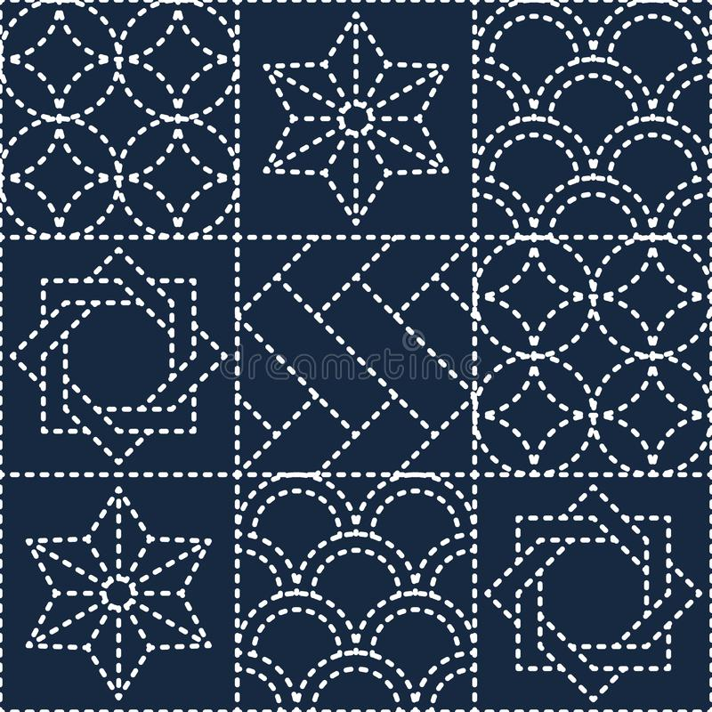 Japanese blue quilting pattern. On blue background royalty free illustration