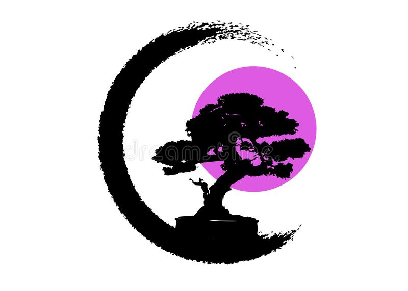 Japanese bonsai tree logo, black plant silhouette icons on white background, green ecology silhouette of bonsai and pink moon. Or sun. Detailed image. Bio royalty free illustration