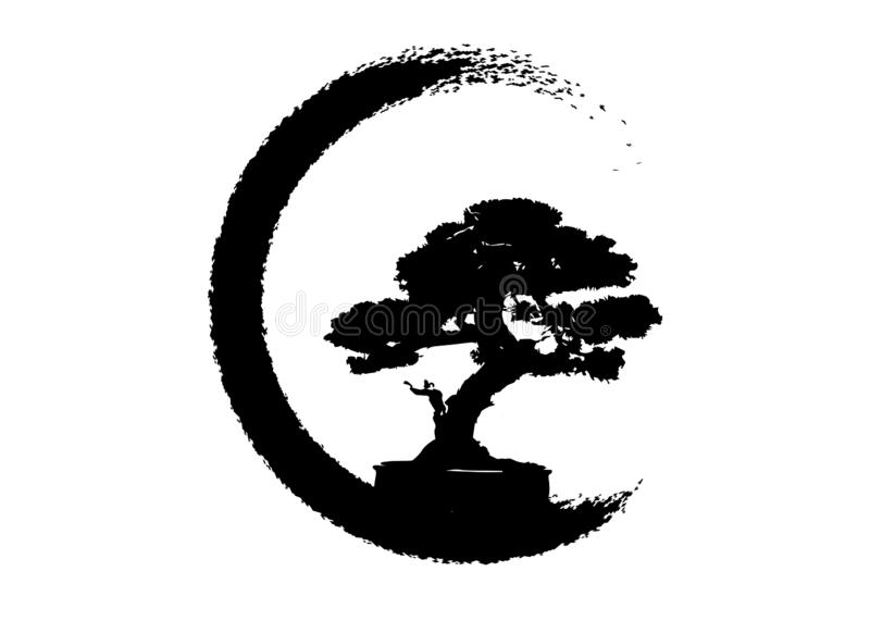 Japanese bonsai tree logo, plant silhouette icons on white background, green silhouette of bonsai. Detailed image. Vector isolated. Japanese bonsai tree logo royalty free illustration