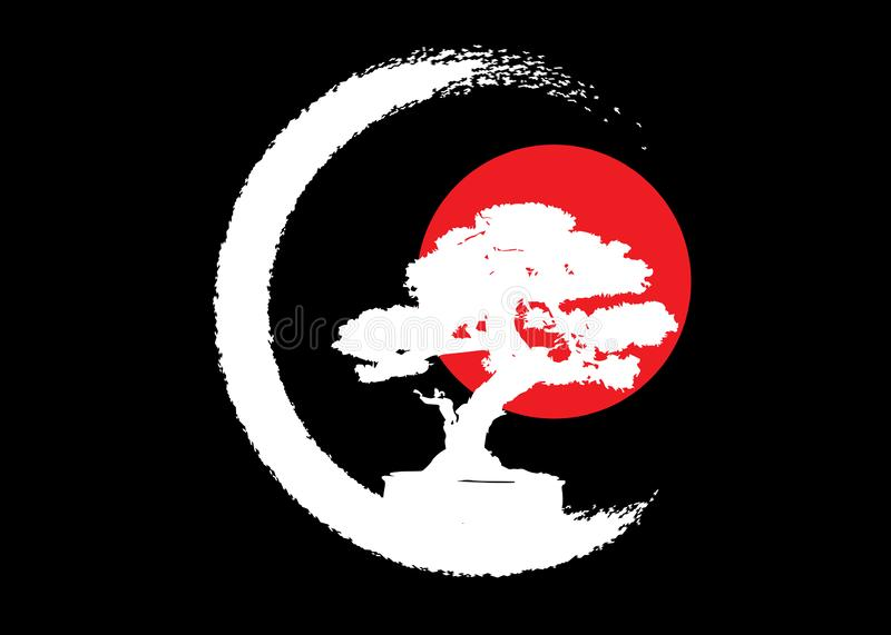 Japanese bonsai tree logo, white plant silhouette icons on black background, green ecology silhouette of bonsai and red sunset. Detailed image. Bio nature stock illustration