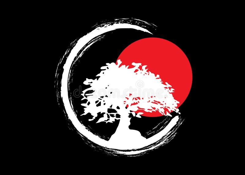 Japanese bonsai tree logo, white plant silhouette icons on black background, green ecology silhouette of bonsai and red sunset. Detailed image. Bio nature royalty free illustration