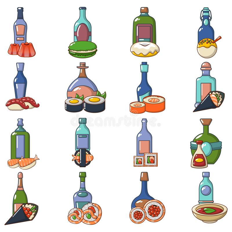 Japanese booze icons set, cartoon style. Japanese booze icons set. Cartoon set of 16 japanese booze vector icons for web isolated on white background vector illustration