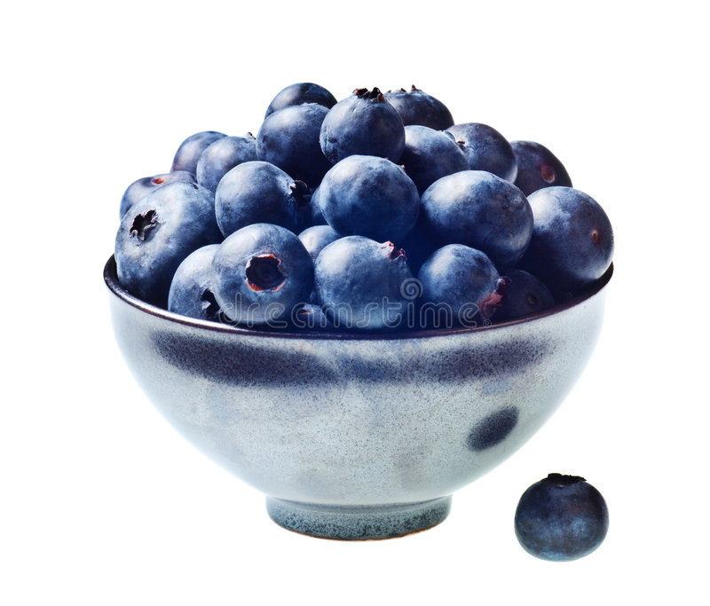 Japanese bowl with blueberries isolated stock photos