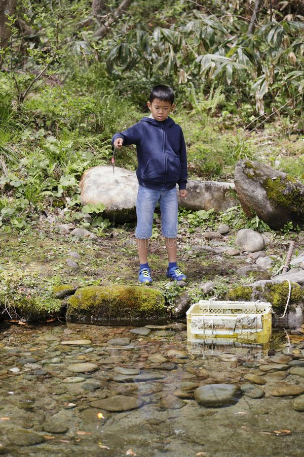 Japanese boy catching fish. Fourth grade at elementary school royalty free stock image