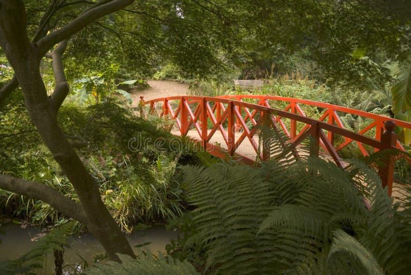 Japanese bridge and gardens stock photo
