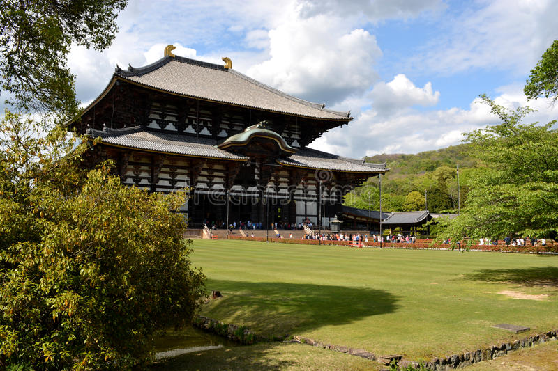 Japanese Buddha Temple Complex. The great Tōdai-ji (Eastern Great Temple) in Nara, Japan features a massive bronze statue of a Japanese Buddha royalty free stock photo