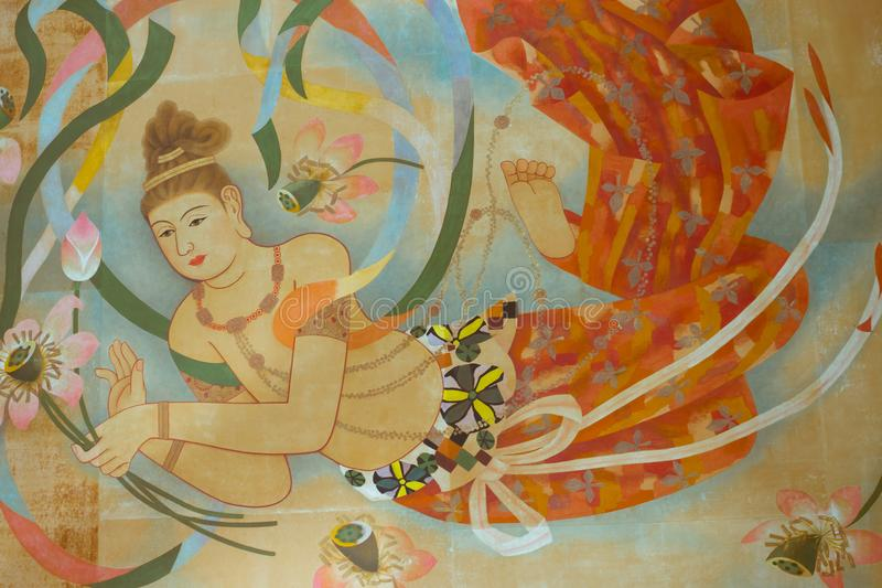 Japanese Buddhist temple ceiling painting royalty free stock photography