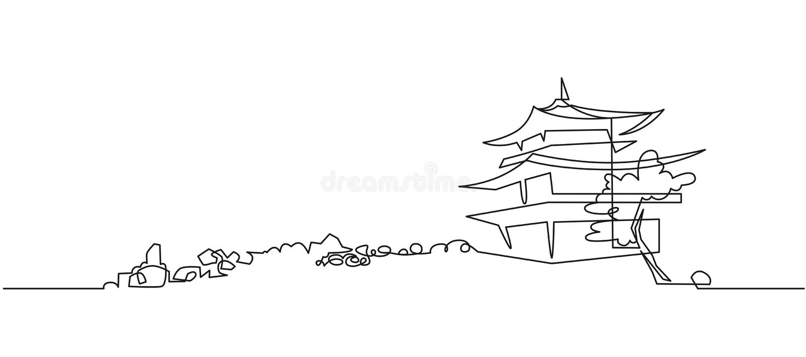 Japanese Buddhist temple continuous one line vector drawing royalty free illustration