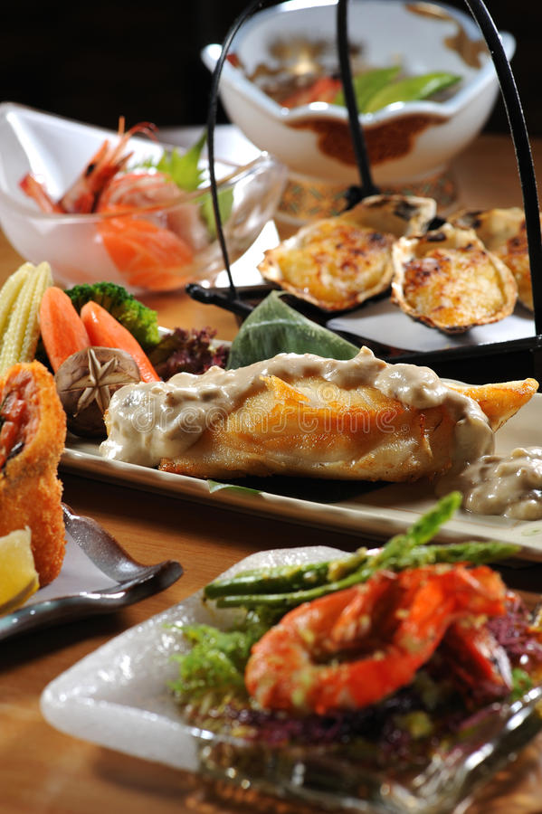 Download Japanese buffet stock photo. Image of prawn, wood, plate - 16081138