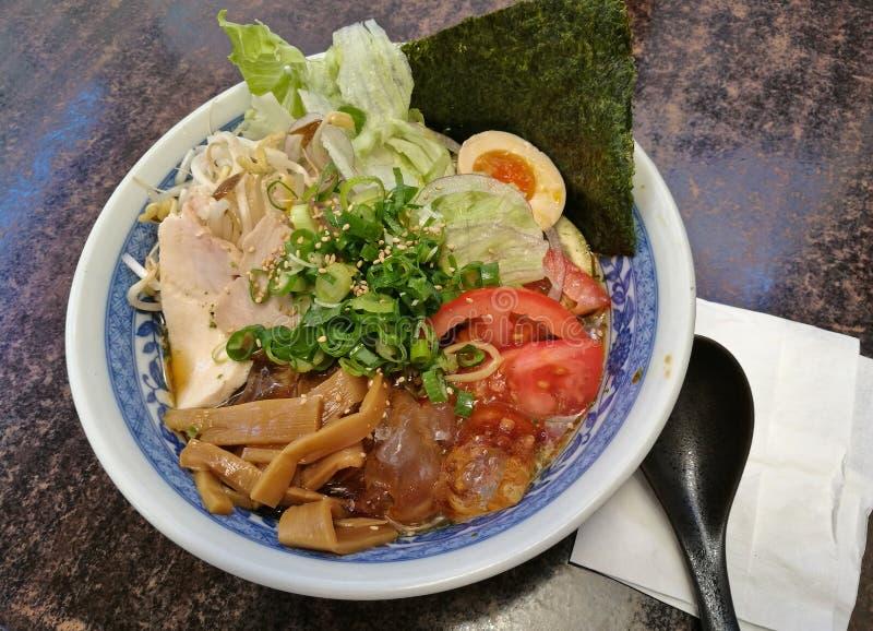 Japanese bukkakesoba buckwheat soba noodle soup served cold royalty free stock image