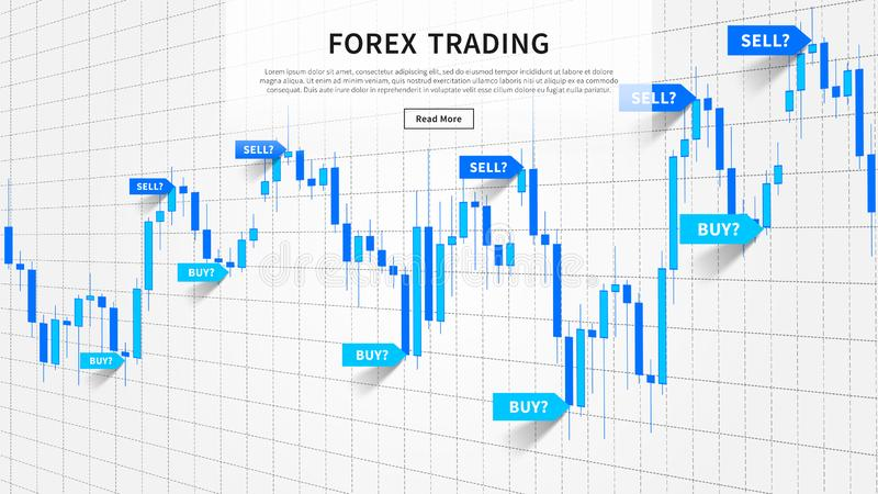 Japanese candle stick chart with buy and sell indices. Pointers, markers vector illustration. Web banner for financial projects vector illustration