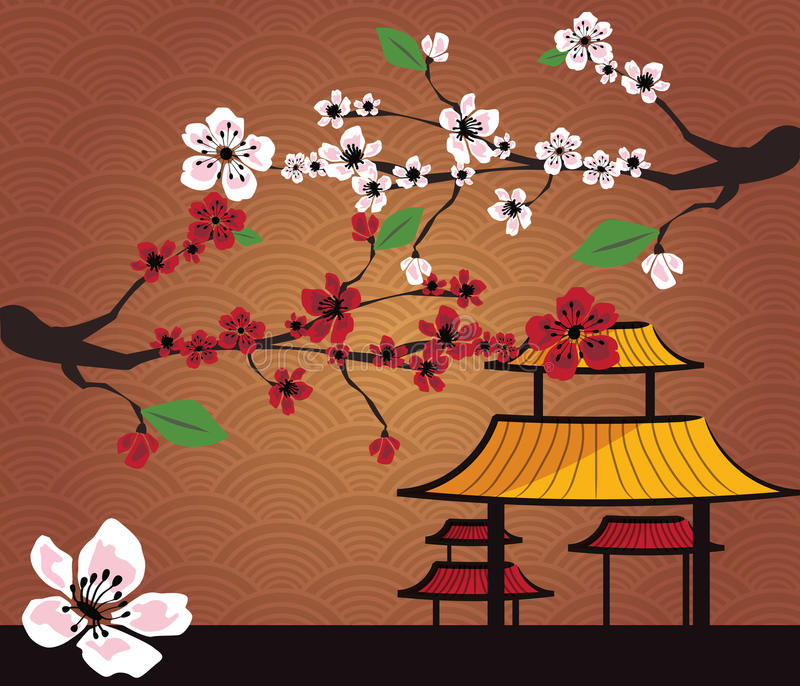 Download Japanese Card With Cherry Blossom Stock Vector - Illustration: 23060192