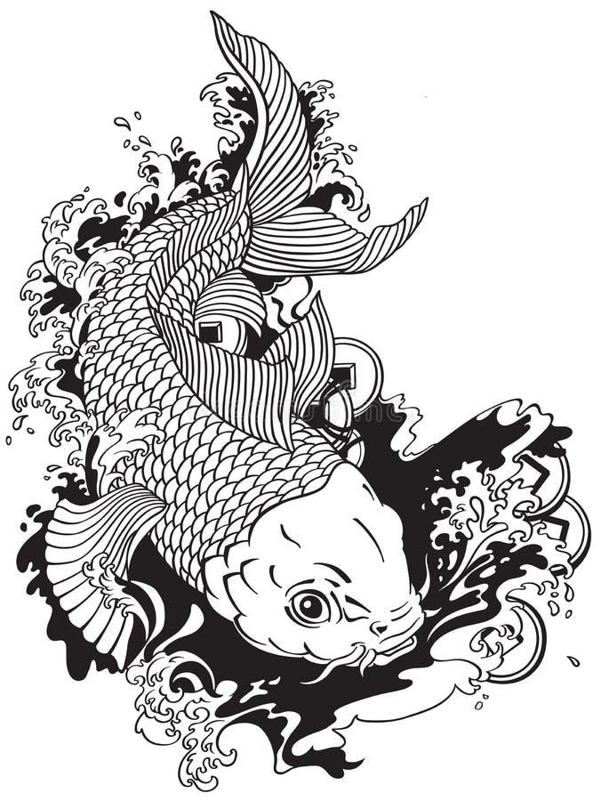 Asian Tattoos Illustrations: Japanese Carp Koi Black White Stock Vector