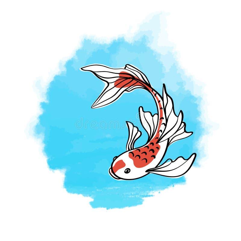 Japanese carp koi. Oriental symbol of good luck. Asian vector illustration on the background of blue watercolor spot. stock illustration