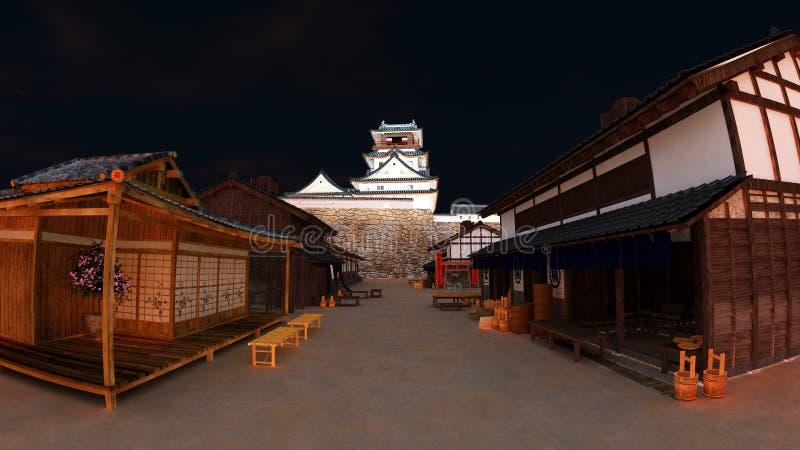 Download Japanese castle stock illustration. Image of building - 21010432